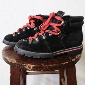 Vintage black leather hiking boots